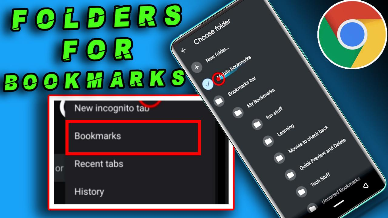 how to create bookmark folders on chrome android