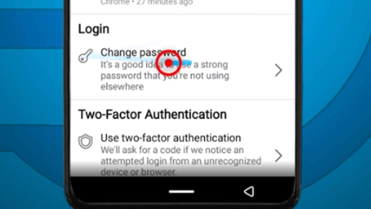 5. facebook android change password option