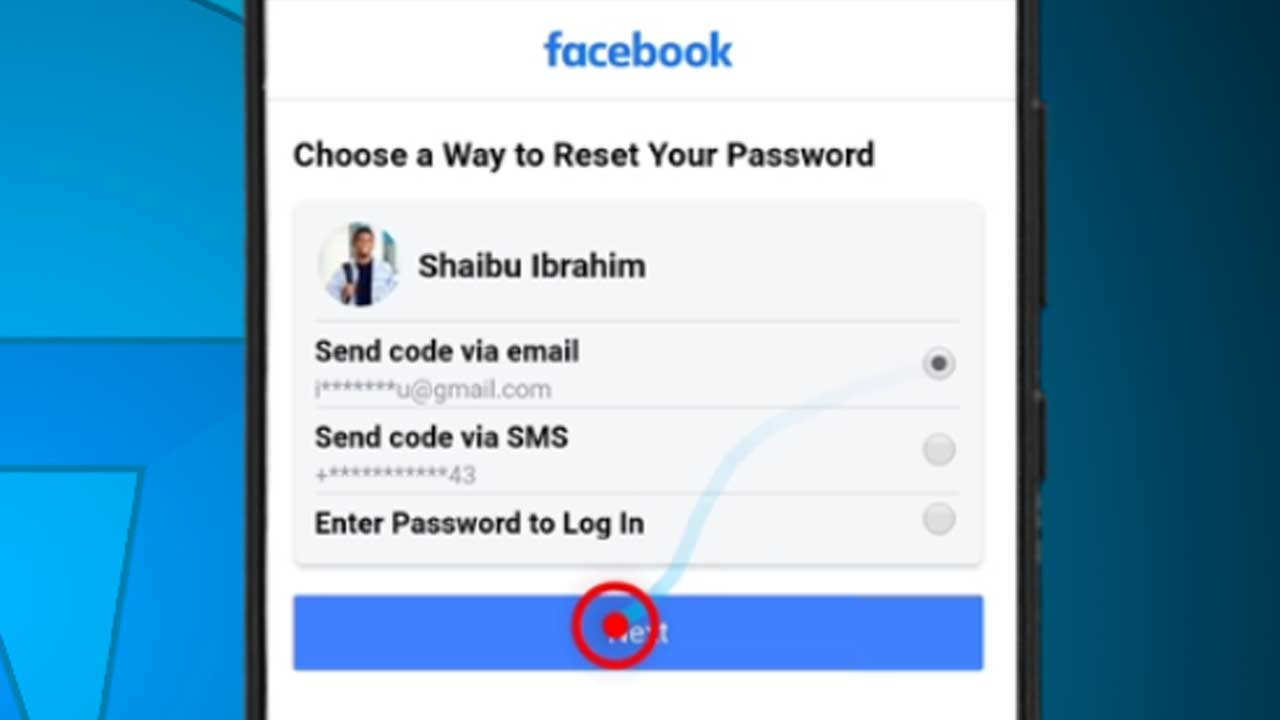 9. facebook android next button on password recovery