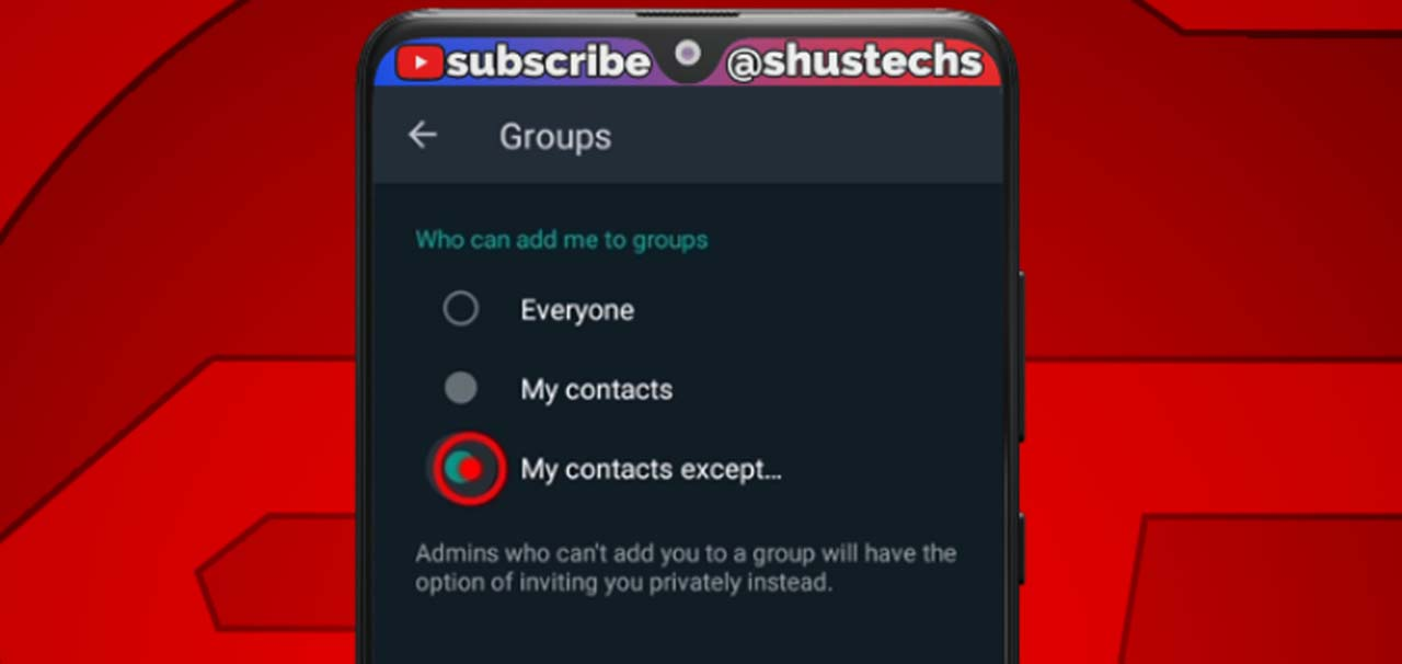 whatsapp group settings my contacts
